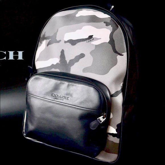 Coach Houston Black Backpack Camo Print School Bag